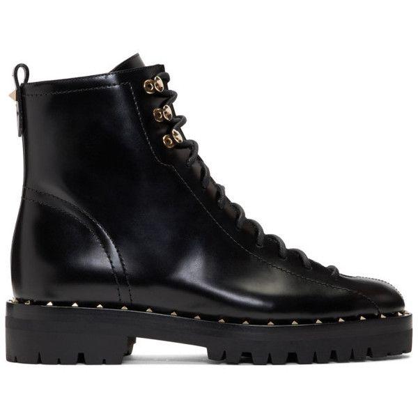 Valentino Black Valentino Garavani Soul Rockstud Combat Boots (€1.030) ❤ liked on Polyvore featuring shoes, boots, black combat boots, black boots, valentino boots, lace up combat boots and black army boots