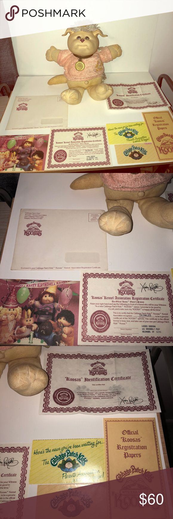 Authentic Cabbage Patch Kids Koosas 80s Doll 100% Authentic Cabbage Patch Doll with original box. Koosas comes with original birth certificate, adoption certificate, Cabbage patch card & envelope. Includes cabbage patch clothes too! Box has wear but is in great shape! Cabbage Patch Kids Other