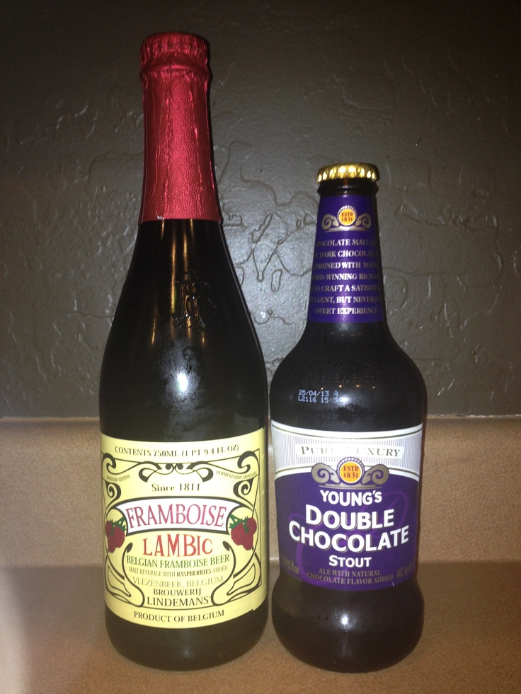 Young Berry Stout Layer in a frosted beer glass Young's Double Chocolate Stout and Lambic Framboise beers