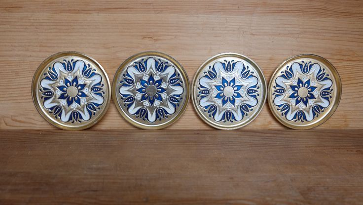 Set of 4 Vintage Metal Coasters, Embossed Scandinavian Coasters, Small Trays, Small Enamelled Saucers, Tea Cup Saucers, Aluminum Ashtrays by RAGMAN770 on Etsy