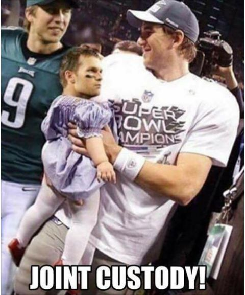 Joint Custody Daddies for Baby Tom!! Nick Foles and Eli Manning.  #NflComedy #NflMemes #NFL #TomBrady #TomBradyMemes #NickFoles #EliManning  #NYGiants #PhiladelphiaEagles #PatriotsMemes