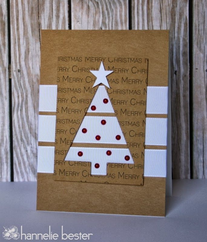 handmade Christmas card from desert diva ... krat  base ... three wide bands of white grosgrain ribbon ... top paned with negative space triangle tree ... gems on the parts that show through ... great design ... great card!!