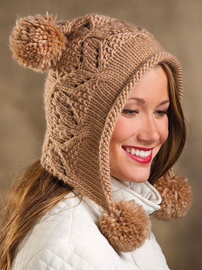 Mocha Hoodie Hat Knitting Pattern - This half-hat/half-hood whimsical creation is a quick-knit design adorned with playful pompoms.