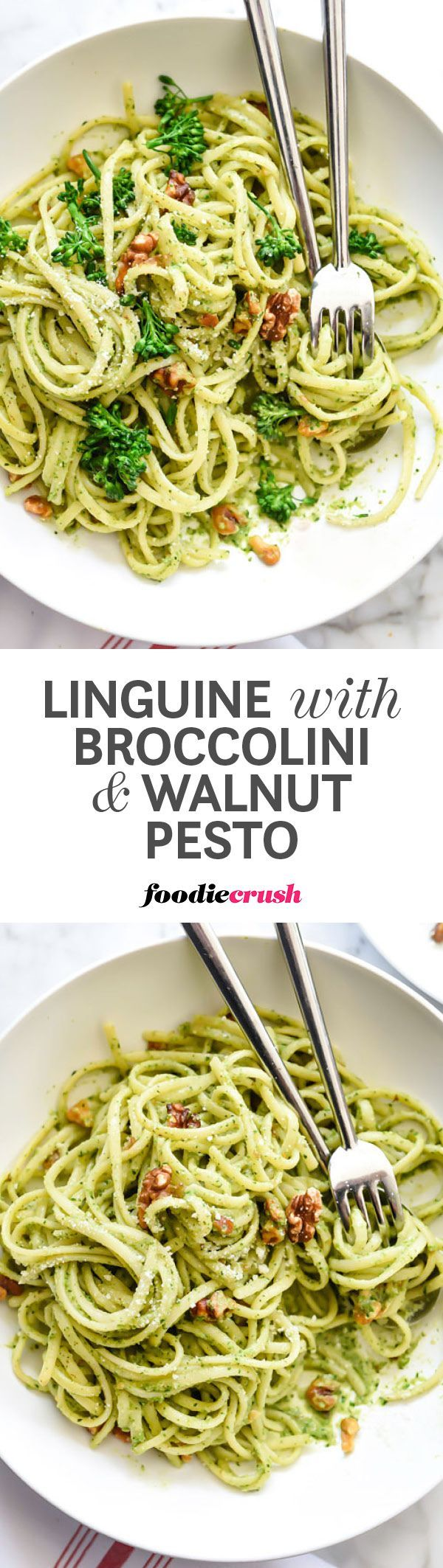 Tender broccolini's bitter bite makes a flavorful pesto when paired with garlic, Parmesan cheese and toasted walnuts for a super easy smooth pasta sauce | http://foodiecrush.com #pasta #linguine #pesto