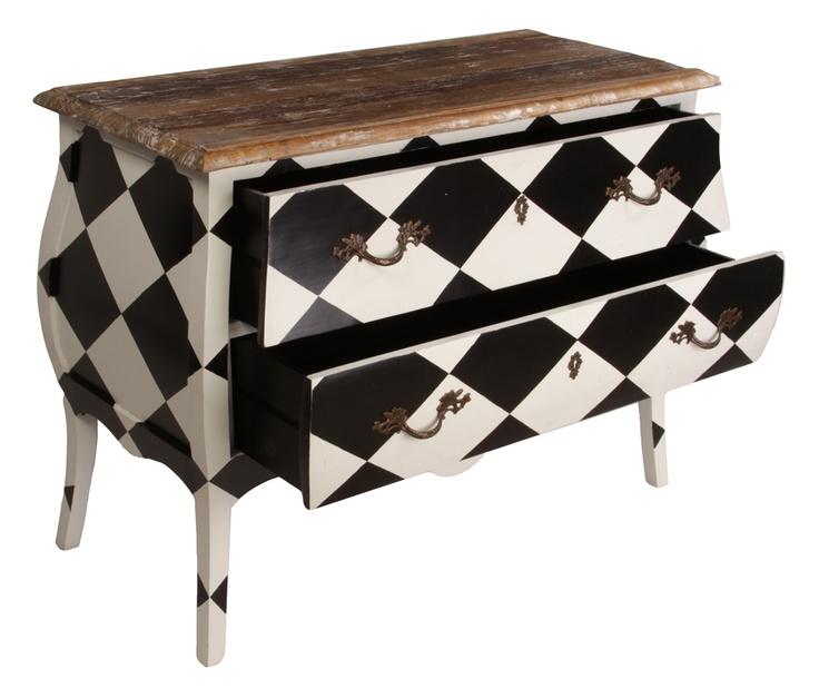 Repurposed dresser with B&W harlequin design by Matt Blatt. #diy
