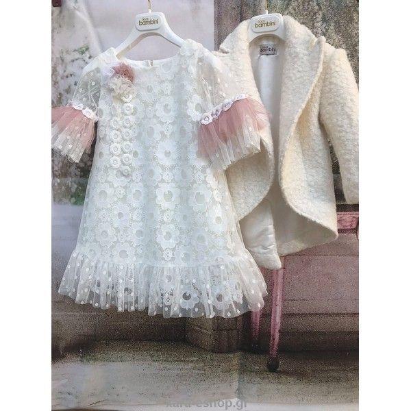 90897be8a844 Βαπτιστικό φόρεμα Dolce Bambini Χειμερινό με κέντημα και όμορφα μανίκια  επώνυμο και οικονομικό