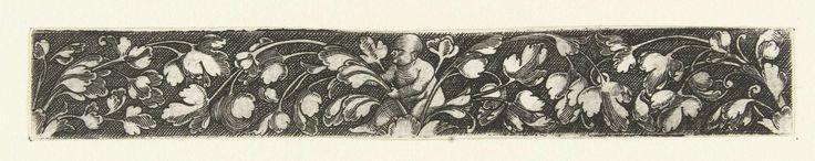 Anonymous | Bladranken, ontspruitend vanuit bladeren in het midden en aan beide zijkanten van het fries, Anonymous, 1500 - 1600 | In het midden zit een kind zonder haar. Gearceerde achtergrond. Eén van 11 bladen.