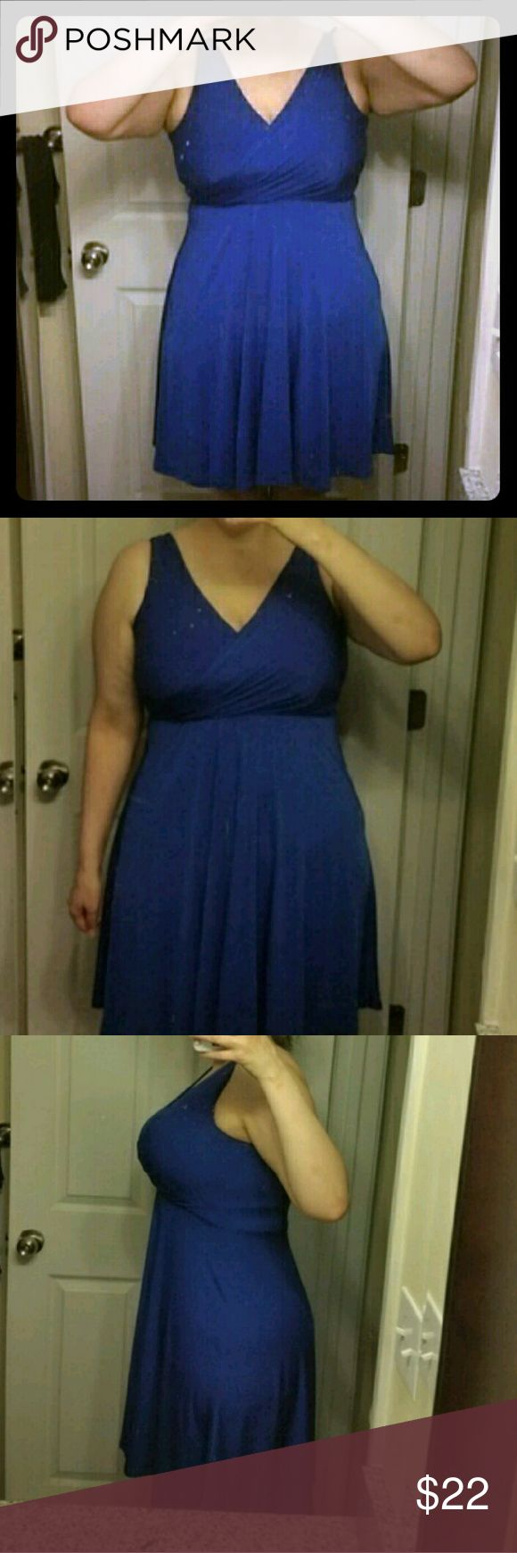 NWOT Royal blue midi Soft fabric, flowy, airy and bust supporting royal blue navy dress. NWOT.   Pet friendly, smoke free home. target Dresses Midi