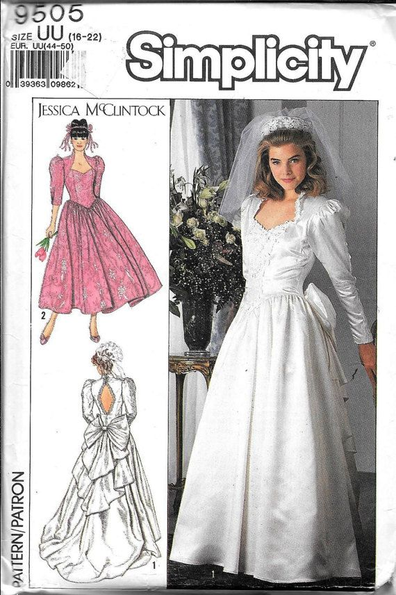 Vintage Simplicity 9505 Jessica McClintock Wedding Dress bridal Gown Evening Sewing Pattern UNCUT Plus Size 16, 18, 20, 22