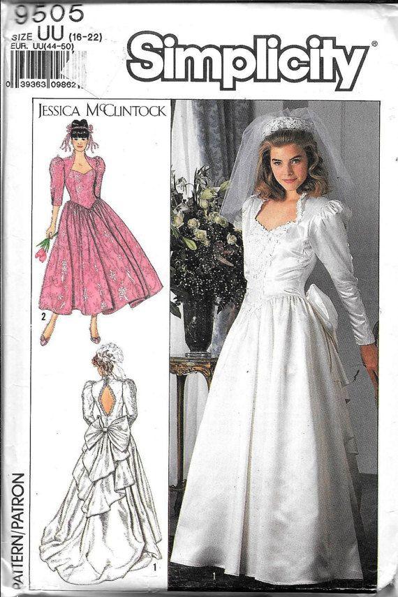Vintage Simplicity 9505 Jessica McClintock Wedding Dress bridal Gown Evening Sewing Pattern UNCUT Plus Size 16, 18, 20, 22