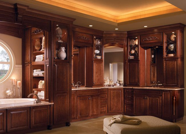 Photos Of Retreat to an elegant master bath with his and hers vanities in Burnished Autumn Blush