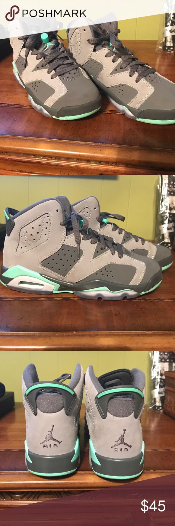 🔥🔥JORDANS 🔥🔥 🔥🔥JORDANS SIZE 4.5 COLOR GRAY,MINT GREEN ALL MY SONS SNEAKERS ARE ALL AUTHENTIC UESD A FEW TIMES LIKE NEW MY SON LOVES ❤️SNEAKERS Jordan Shoes Sneakers