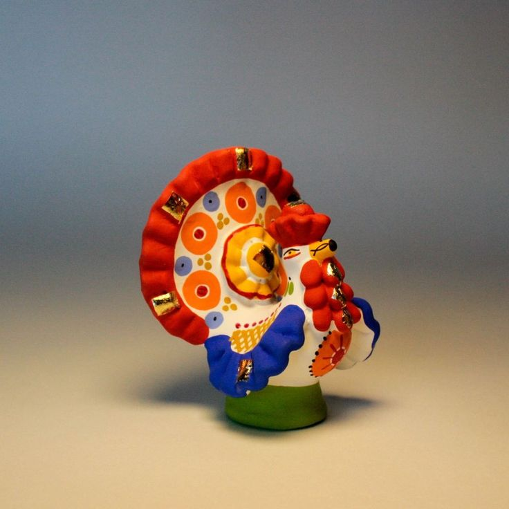 US $31.37 Russian Folk Clay Dymkovo Toy Painted Signed Dollhouse Figurine