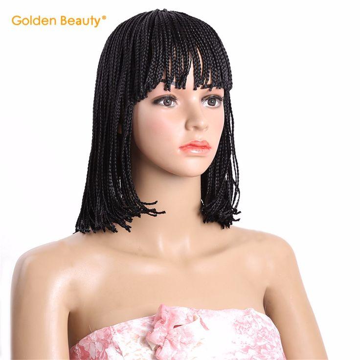 """Ücretsiz kargo 6-12 """"golden beauty kısa kutu örgüler bob peruk sentetik örgü peruk siyah kadınlar için ombre siyah kutusu örgü peruk"""