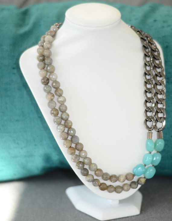 Industrial meets Glam: Double Strand Chunky Chain Necklace by MimiJayDesigns on Etsy