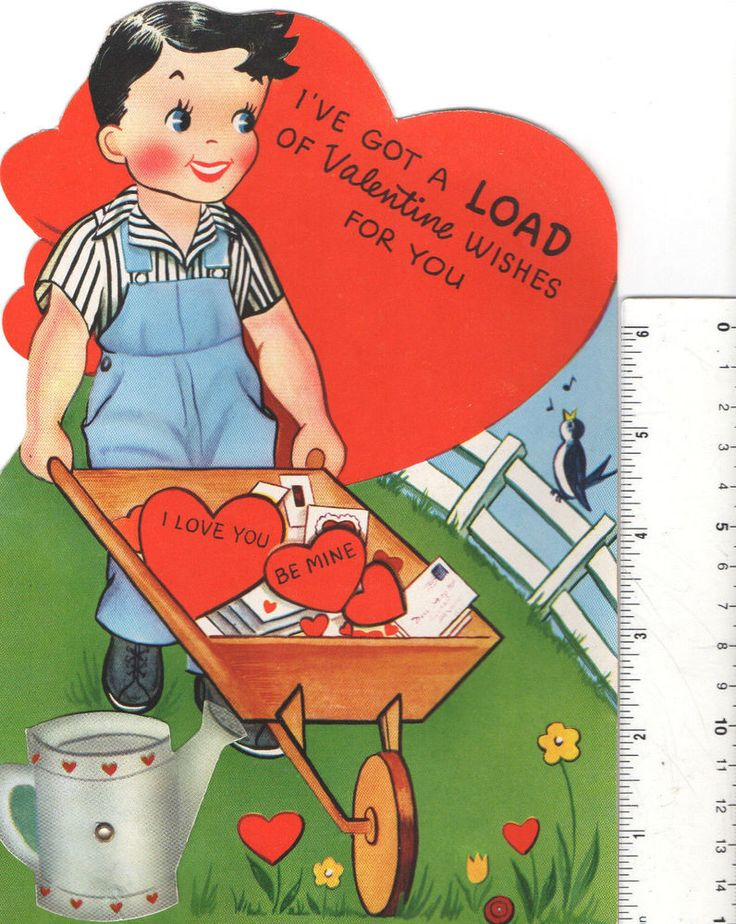 Vintage Mechanical Greeting Card I'VE GOT A LOAD OF VALENTINE Wishes For You BOY pushes WHEELBARROW Watering Can Moves back and forth