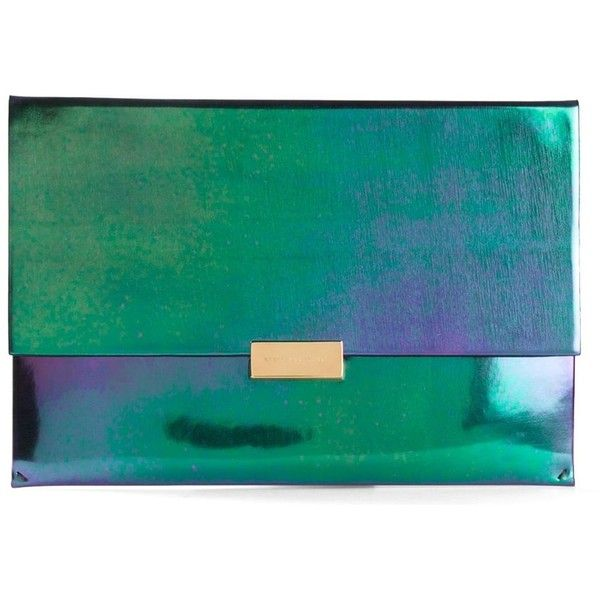 Stella McCartney Beckett Iridescent Clutch ($770) ❤ liked on Polyvore featuring bags, handbags, clutches, clutches / wallets / purses, green, vegan purses, stella mccartney, iridescent handbag, stella mccartney purses and vegan handbags