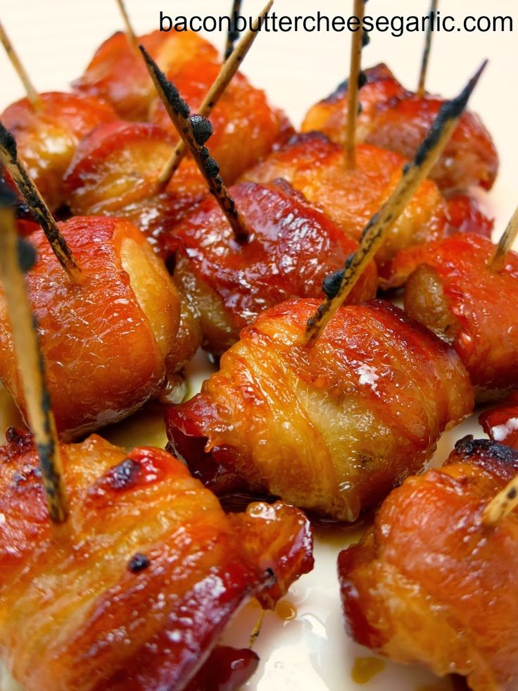 Rumaki...this is an old-fashioned appetizer that has a sweet & soy marinated bacon wrapped water chestnut.  Darn tasty!