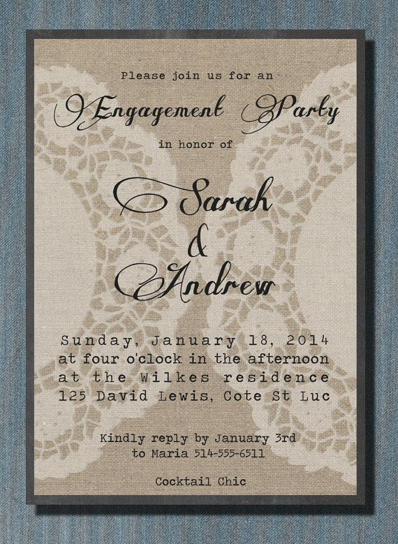 Linen White Doily Chalkboard Engagement Party by PaperCandyCa, $2.00