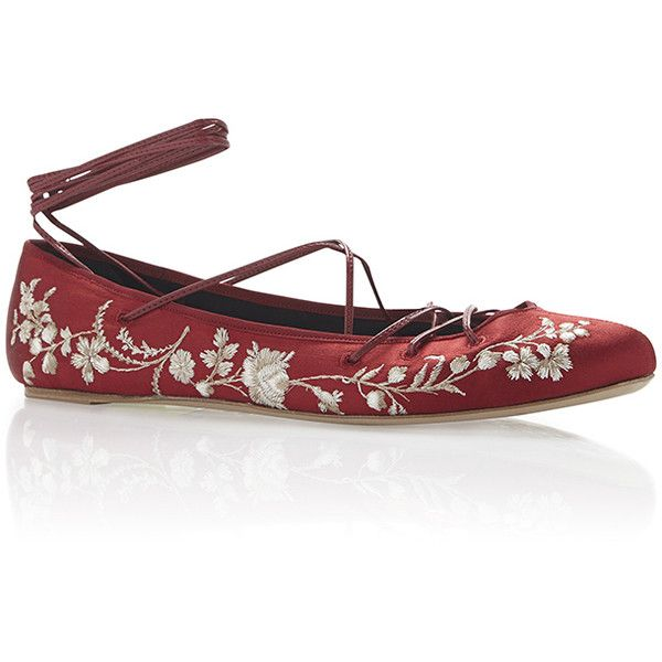 Etro Berry Floral Embroidered Satin Ballet Flat with Leather Ankle... found on Polyvore featuring shoes, flats, round toe flats, lace up ballet flats, satin ballet shoes, ballet pumps and ballerina shoes