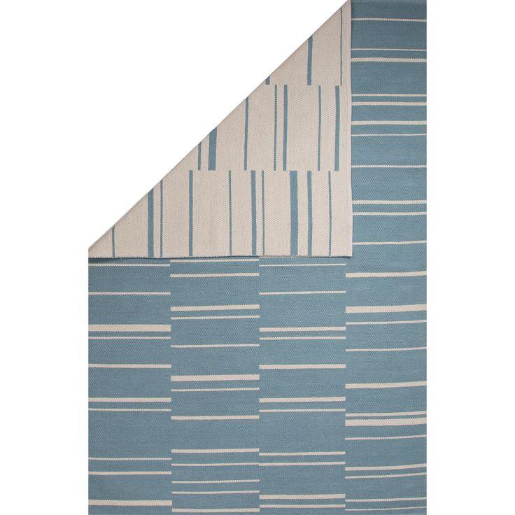Flatweave Stripe Pattern Blue/White (5u0027 X 8u0027) AreaRug   Overstock