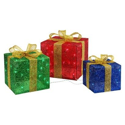 Set Of 3 Lighted Gift Boxes 13 X 13 For Largest