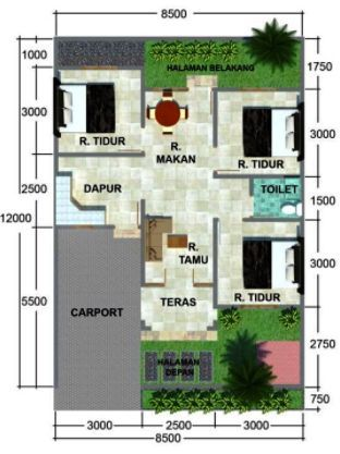 Denah Rumah Minimalis 3 Kamar Tidur Type 36 Denah Rumah Minimalis