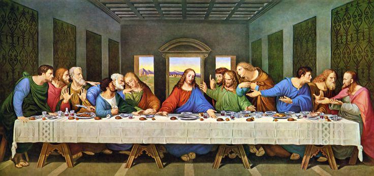 Leonardo da Vinci - The Last Supper Restored (I think this is an ancient copy in oil of Leonrdo`s Last Supper).