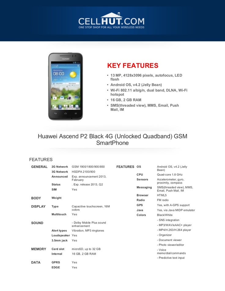 huawei-ascendp2black4-gunlockedquadbandgsmsmartphonebrochure33444-20555122 by Cellhut via Slideshare