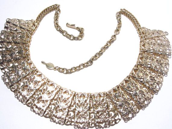 195 best sarah coventry emmons vintage jewelry images on pinterest sarah coventry chantilly lace necklace vintage goldtone filigree 60s aloadofball Images