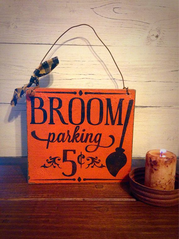 Halloween Sign, Broom Parking 5 Cent, Primitive Halloween Sign, Halloween Decor, Witch Decor, Handmade Halloween Sign on Etsy, $119.35 HKD