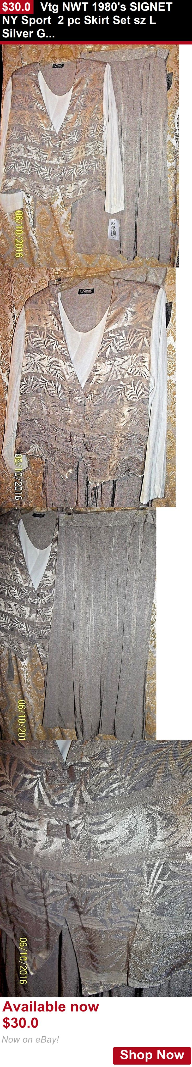 Women vintage reproductions: Vtg Nwt 1980S Signet Ny Sport 2 Pc Skirt Set Sz L Silver Gold Taupe Fern Print BUY IT NOW ONLY: $30.0