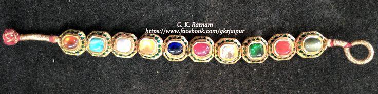 A sleek navratan bracelet, best suited for traditional wear | Bangles | Bracelets | Kundan Meena Jewelry | Bridal Jewelry | Traditional Indian Jewelry | Wedding Jewelry