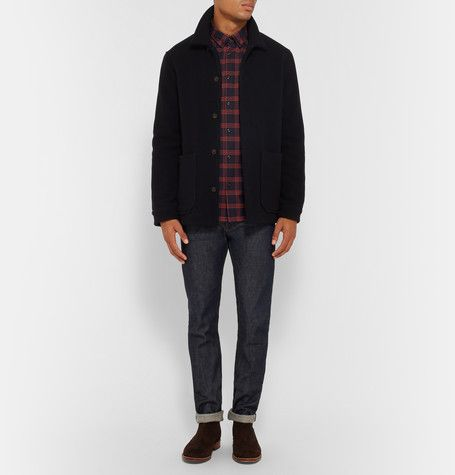 A.P.C. - Slim-Fit Button-Down Collar Checked Cotton-Twill Shirt