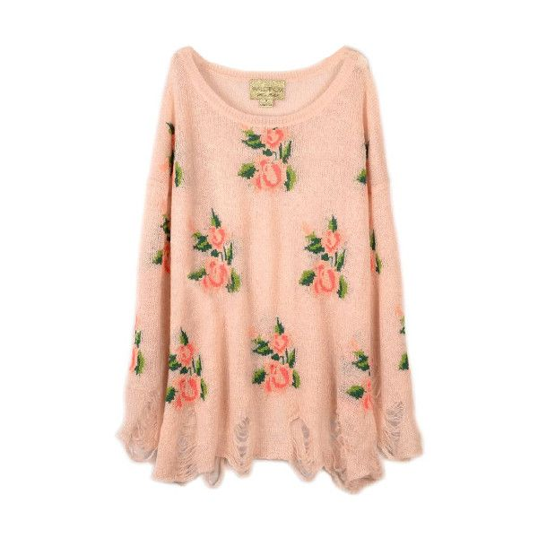 Floral Printed Pink Irregular Sweater ❤ liked on Polyvore
