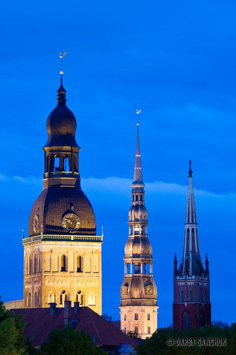 The Dome Cathedral, St. Peter's Church, and St. Jacob's Cathedral in Riga, Latvia