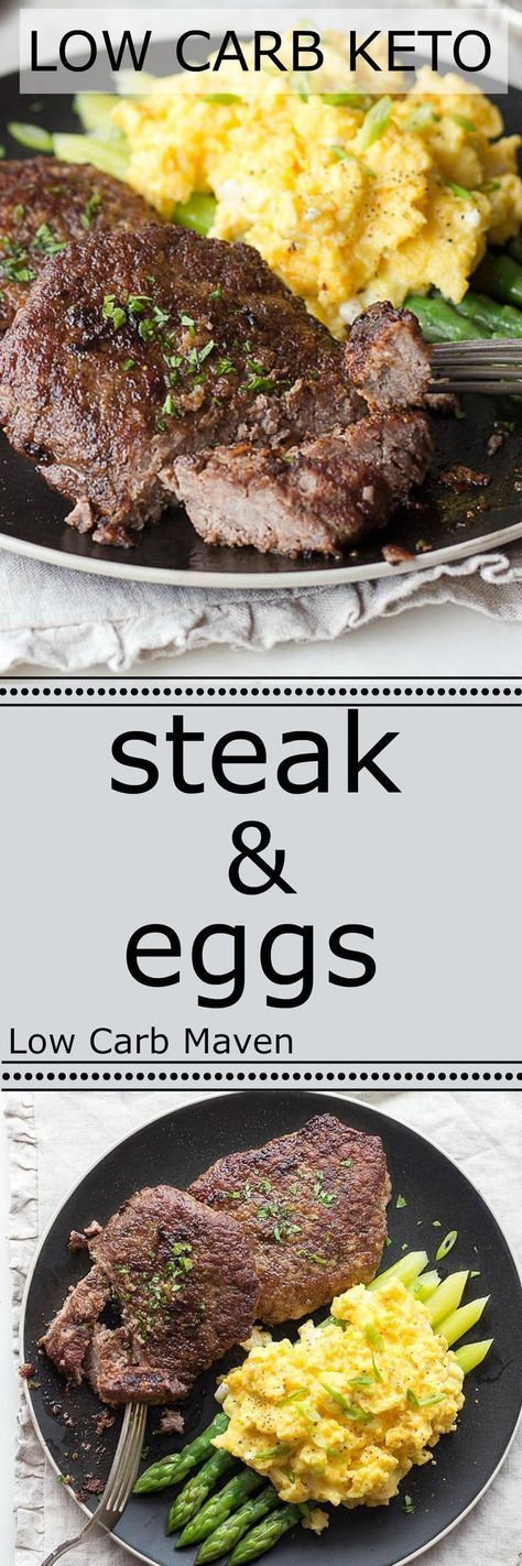 A great low carb breakfast of steak and cheesy scrambled eggs is ready in minutes. Keto