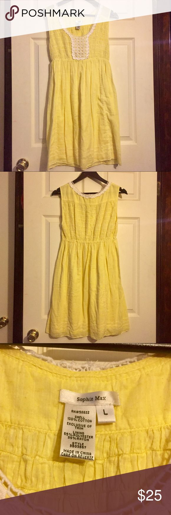 """Sophie Max Dress Sz L Worn once and in excellent condition!  Cute Sophie Max yellow cotton dress Sz L.  Fully lined.  Length measures 34"""" from top of shoulder to bottom hem.  Smocked must has lots of stretch.  All my items are from a smoke free home and offers are always welcome🛍🌞🛍 Sophie Max Dresses"""