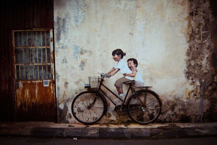 Interactive mural at Penang, Malaysia by Ernest Zacharevic