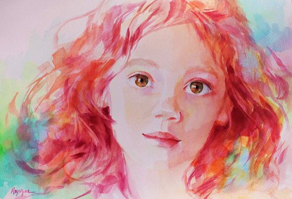 Unique Custom Childs' Portrait Based on Your Photo in Bright, Colorful Watercolor.  Krystyna81 on Etsy