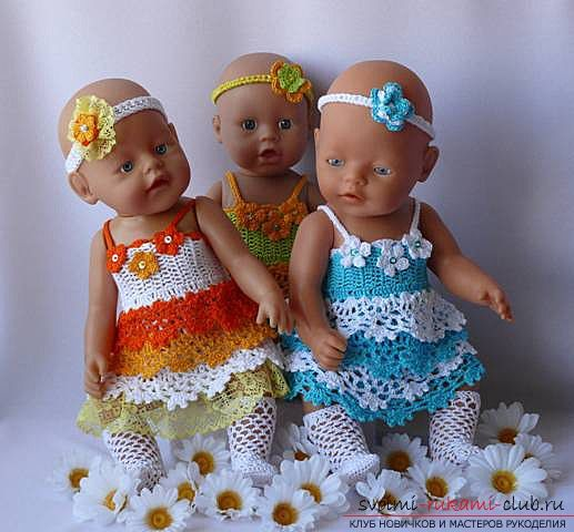 Одежда для пупсов своими руками, которую можно выполнить, сшив или связав. Фото кукольной одежды и выкройки для ее изготовления. Схемы для вязания одежды для кукол.. Фото №1