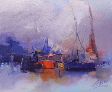 "Saatchi Art Artist Andres Vivo; Painting, ""4253 Storm coming to San Fernando port"" #art"