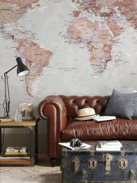 Steampunk Living Room with Vintage Map