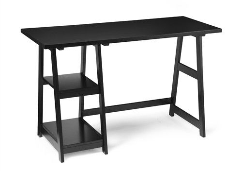 "Replete with shelving and glorious desk top space, this stylish trestle desk is just the thing for your small office, dorm room, or bedroom. Its dimensions are 47"" W X 20"" D X 29"" H."