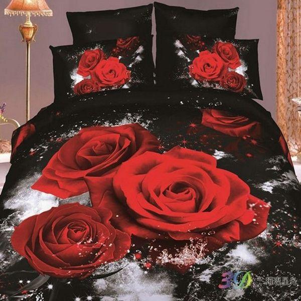 2015 розовые Розы 3d масло печати кофе комплект постельных принадлежностей хлопка королева полный размер доона одеяла утешитель обложка постельное Белье простыни наборы