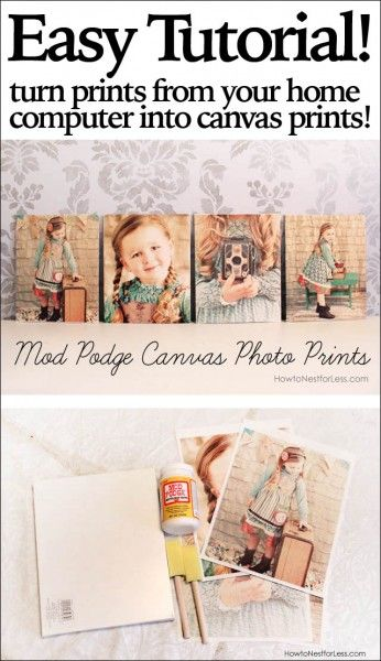 Print out photos from your home computer and mod podge onto canvas boards. The texture will make them look like they were printed on canvas!: