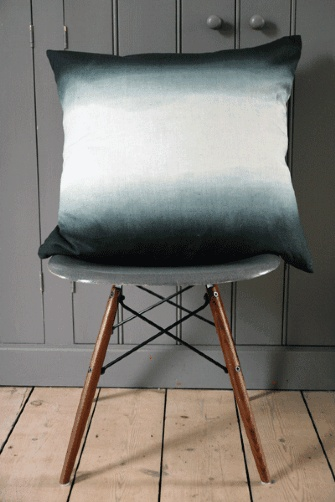 Grey/Green Tie Dye Linen Cushion - Square