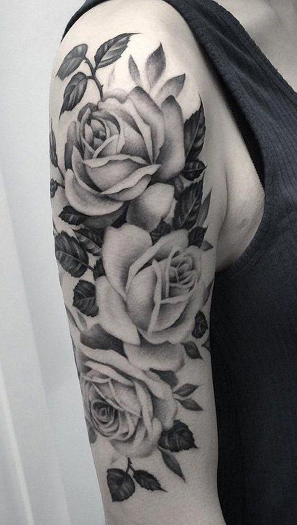 Black and White Rose Tattoo Ideas for Women - Flower Arm Sleeve - http://MyBodiArt.com