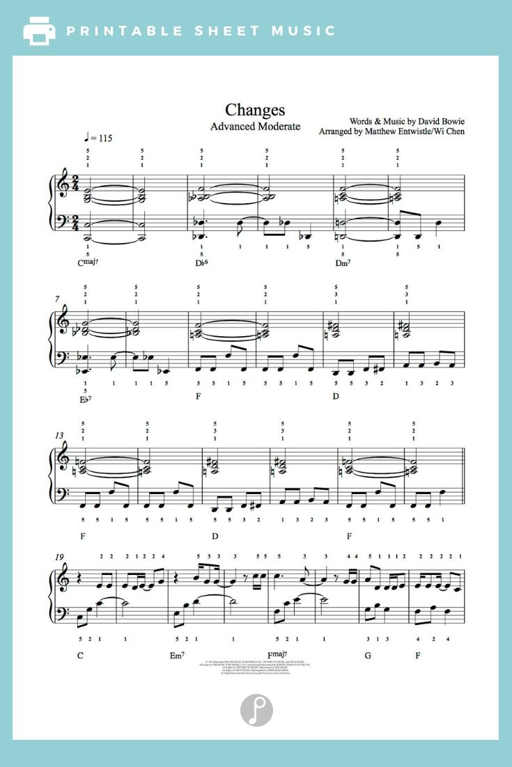 Changes By David Bowie Piano Sheet Music Advanced Level