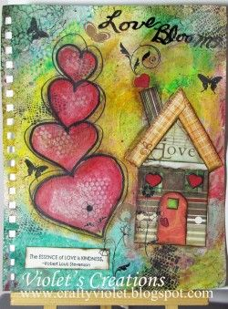 .: Houses Collage, Journals Ani Defteri, Heart Bloom, Bloom Mixed, Canvases Journals Art, Mixed Media Canvas, Art Journals Canvases, Collage Houses, Creative Art Journ